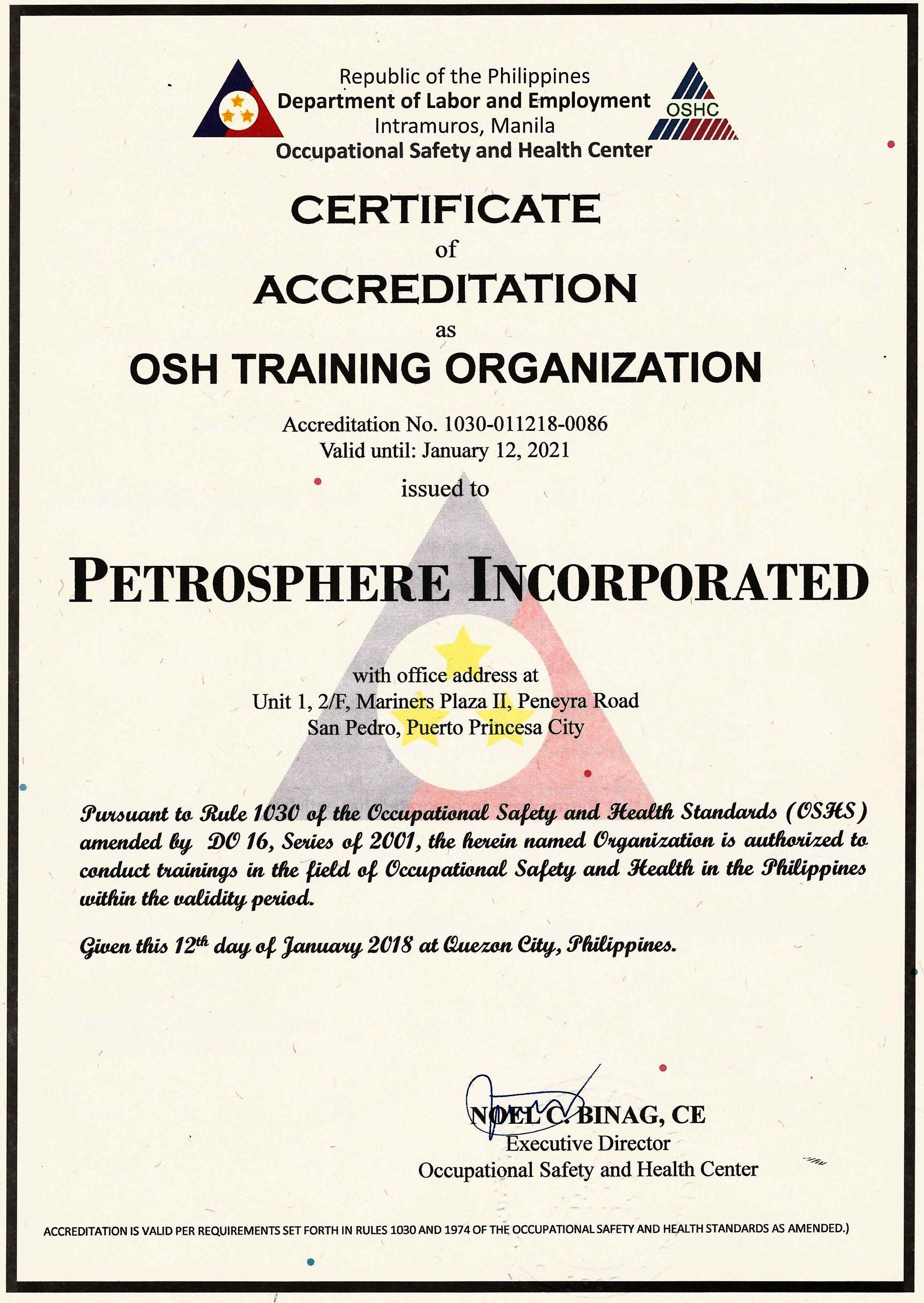 Petrosphere receives full accreditation from DOLE