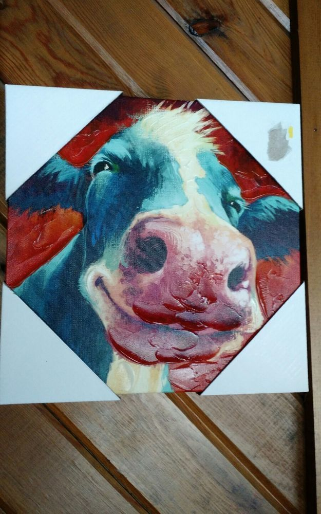 Dollar General SMALL Smiling Cow Canvas Painting Print COW 10x10 ...