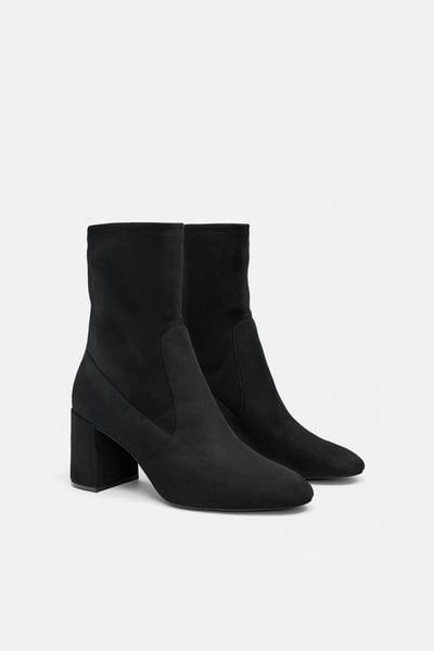 ZARA Female Zippered heeled ankle boots Black 5