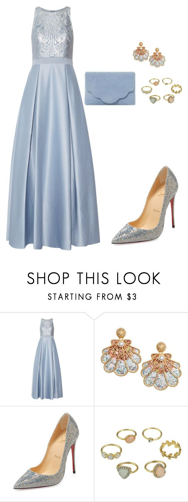 """Blanche"" by saretasareta on Polyvore featuring Badgley Mischka, Christian Louboutin and Dune"