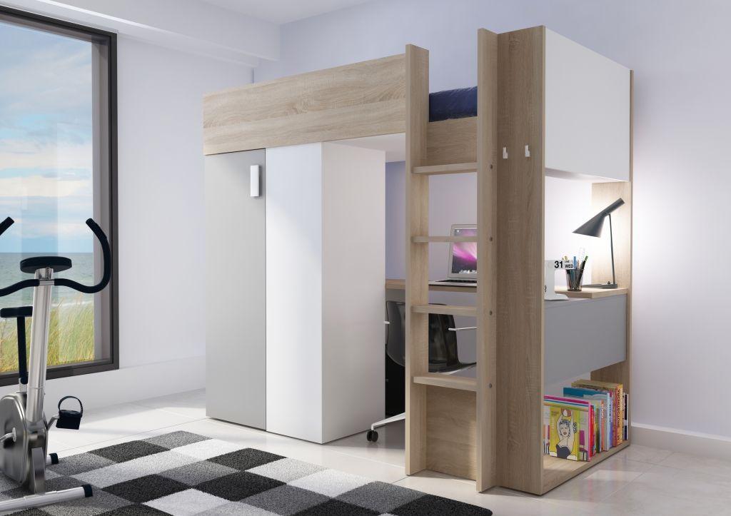 Kinderkamer Kasten Mostros : Model studio. deze hoogslaper is voorzien van kast en bureau ruimte