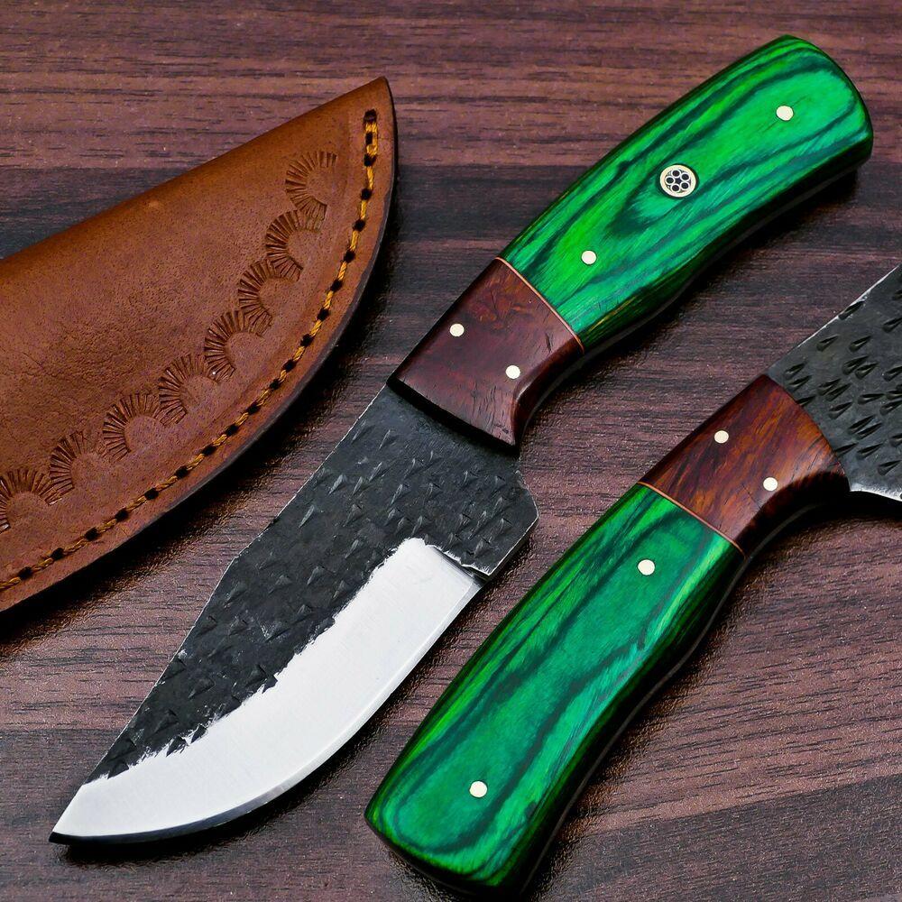 Costum Handmade 1095 Steel Hunting Skinner Knife With Colour Wood Handle Ebay In 2020 1095 Steel Wood Handle Wood Steel