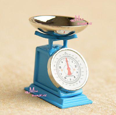1:12 Casa De Bonecas Miniatura Brinquedo Metal Azul Escala Altura 3cm