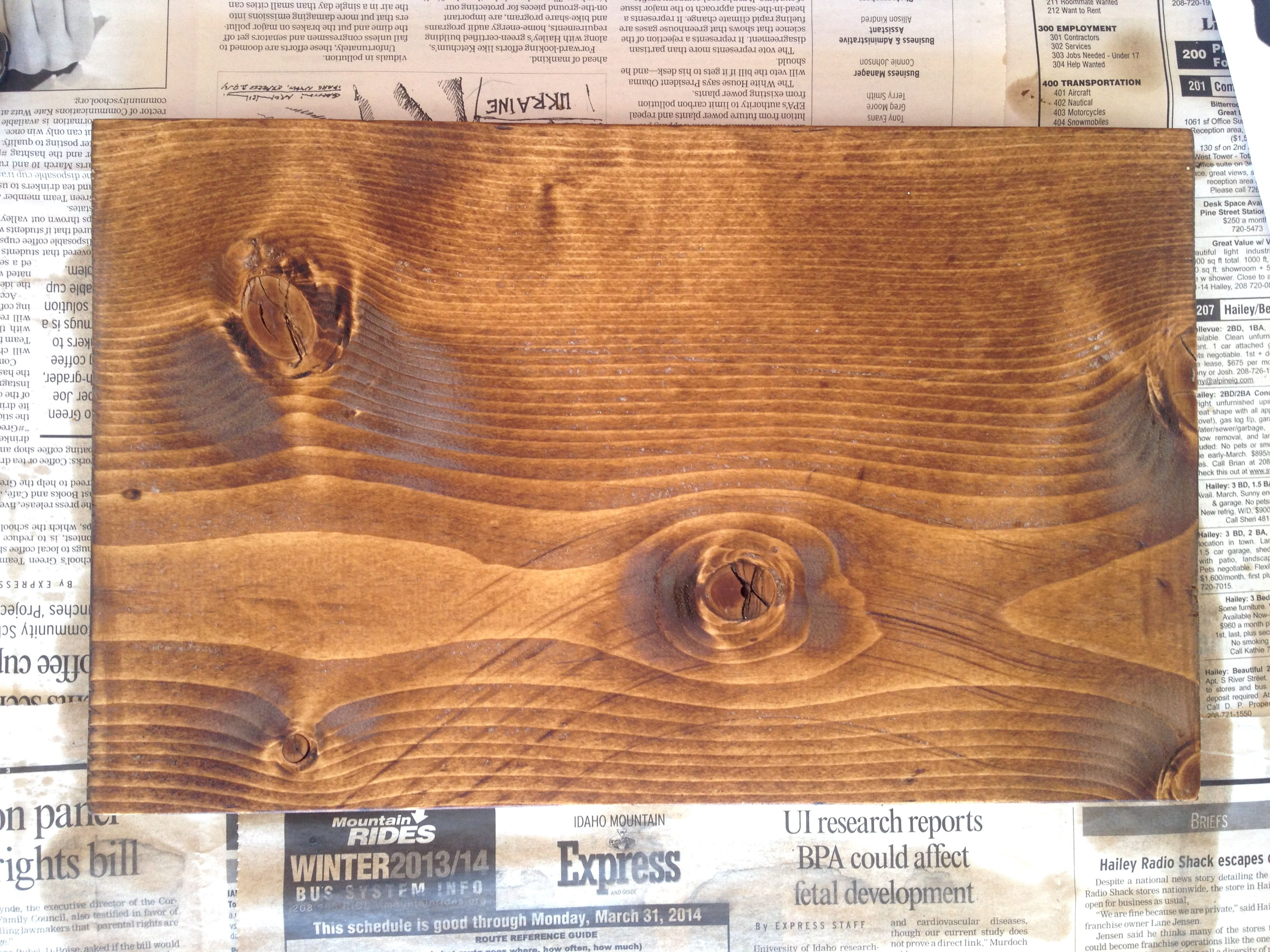paint/stain as many coats as desired. the type of wood will also contribute to how dark the stain will dry.