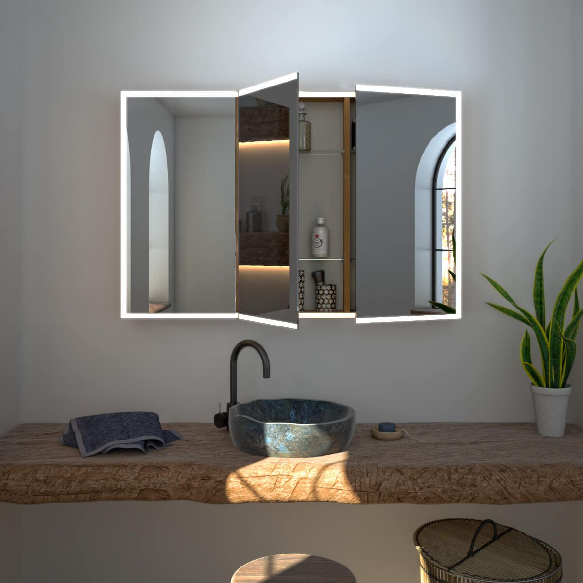 Spiegelschrank Nach Mass Mit Led Credo Bild 2 Spiegelschrank Bad Spiegelschrank Mit Beleuchtung Spiegelschrank Beleuchtung