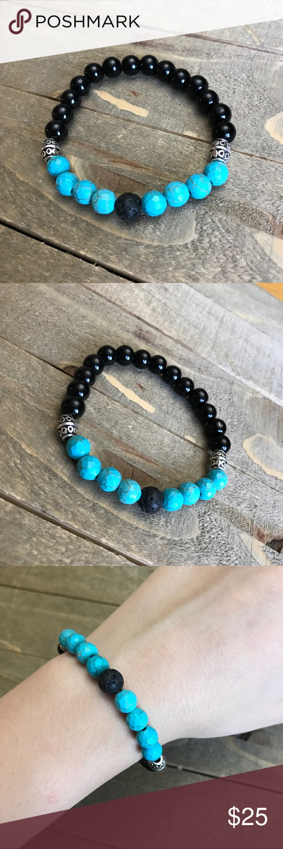 Handmade Natural Turquoise Stone Bracelet Beautiful And Black Obsidian Stones With Silver Er