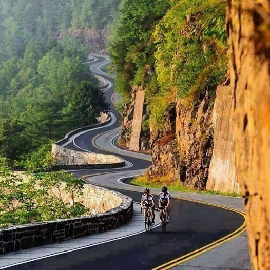 bikes, bicyclists, beautiful zigzag road, amazing scenery.