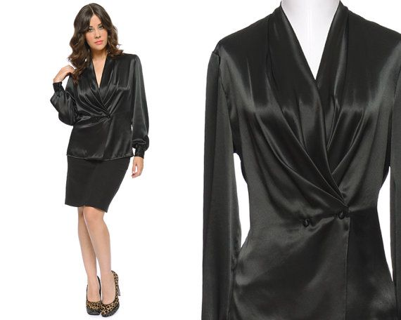 Black Satin Blouse 70s Wrap Drape Puff Sleeve Top Button Up ...