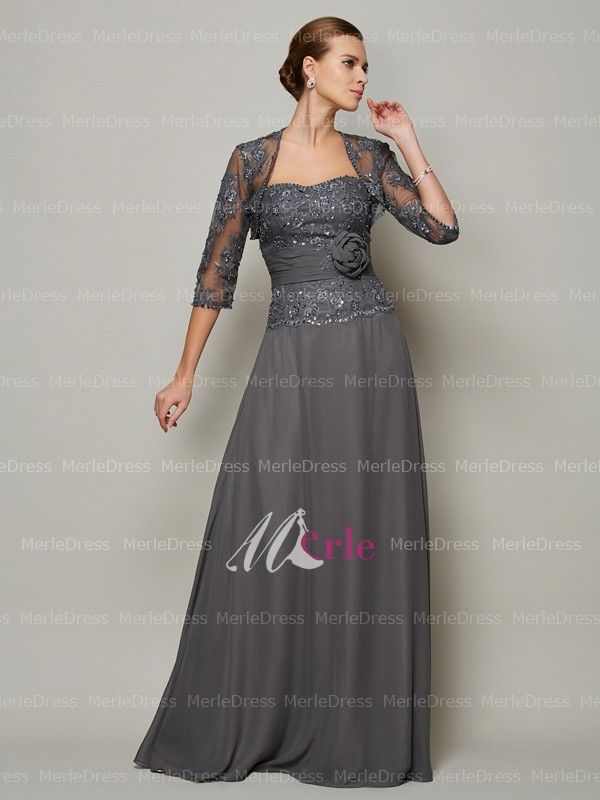 Gray Wedding Mother Dress