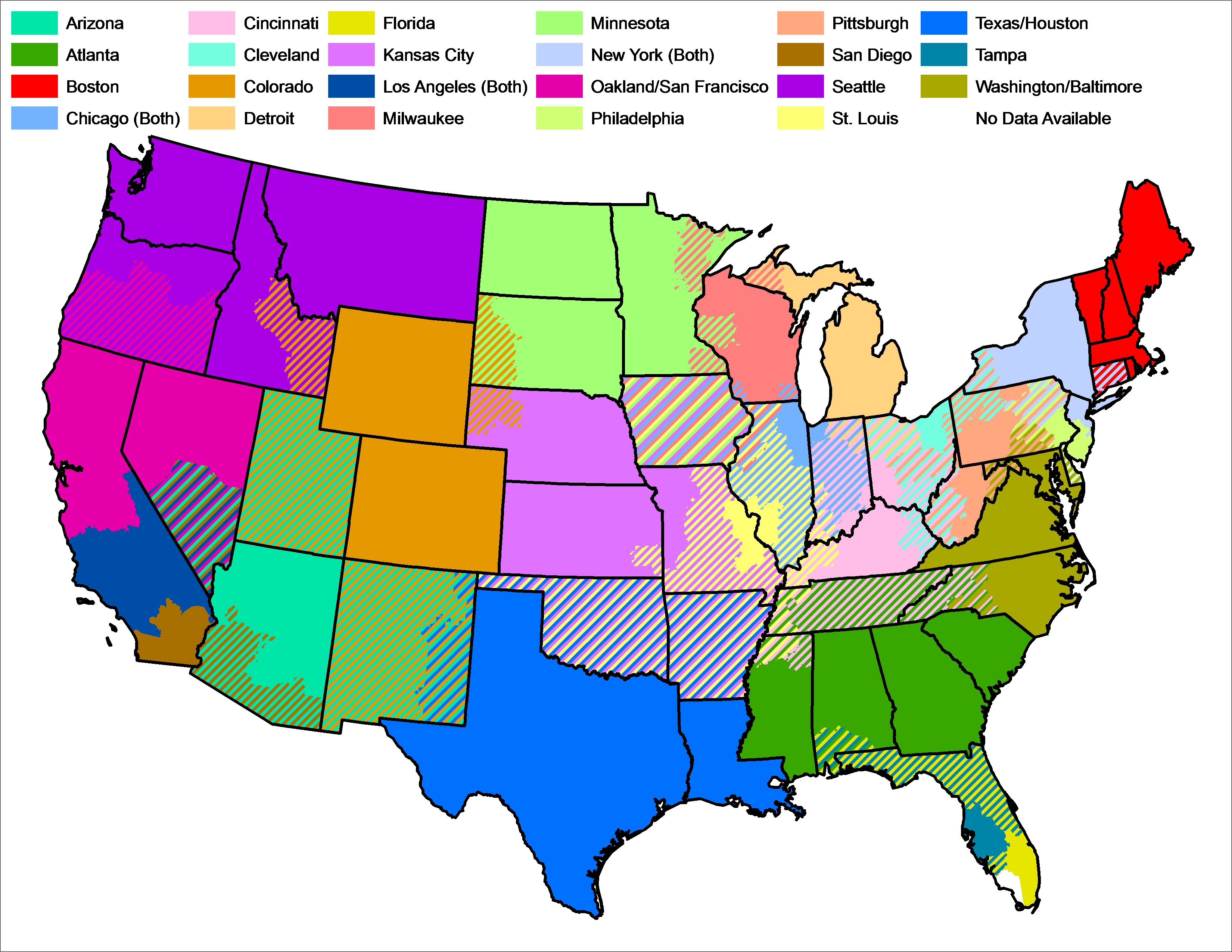 Where You Can And Cant Watch Baseball On TV Other Stuff - Us baseball map