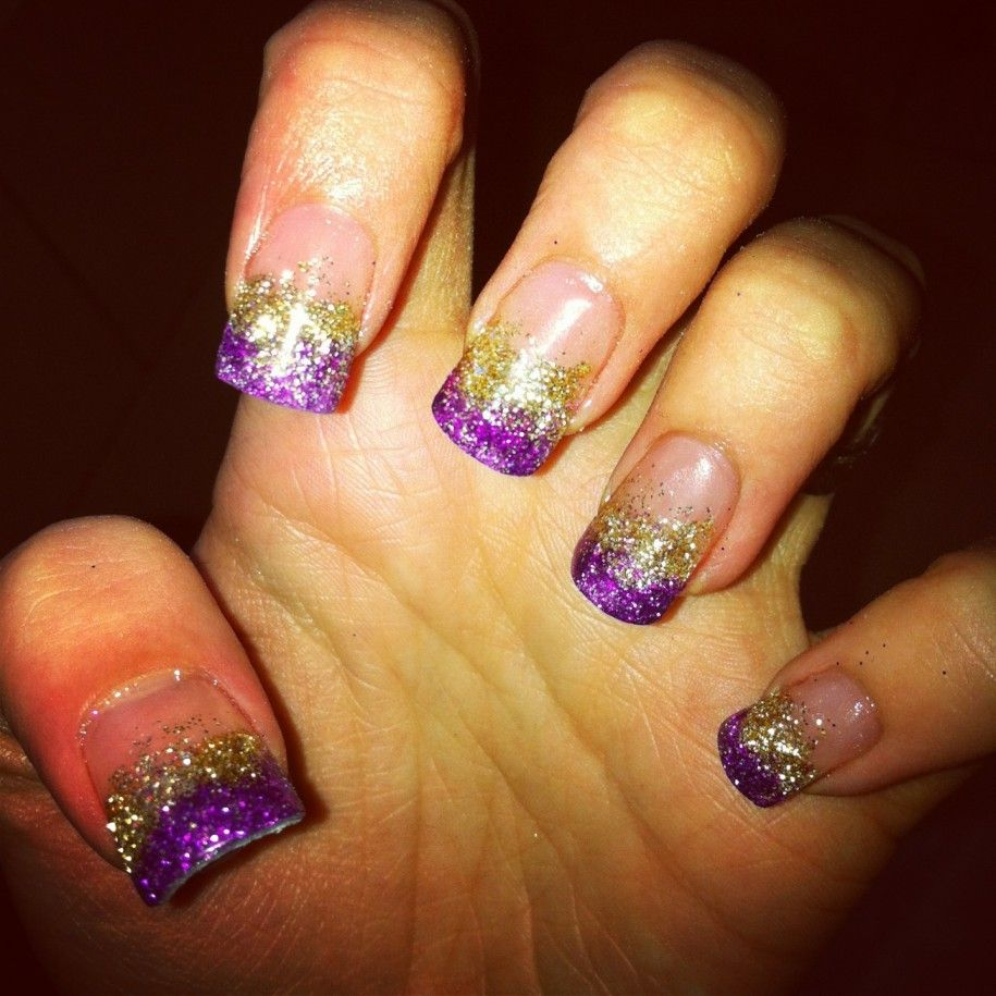 Gradient Color Gold And Purple Acrylic Nail Designs - Gradient Color Gold And Purple Acrylic Nail Designs Prom