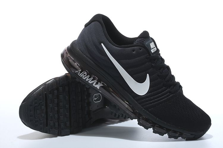black and white nike air max shoes. nike air max 2017 all black white logo shoes women men and