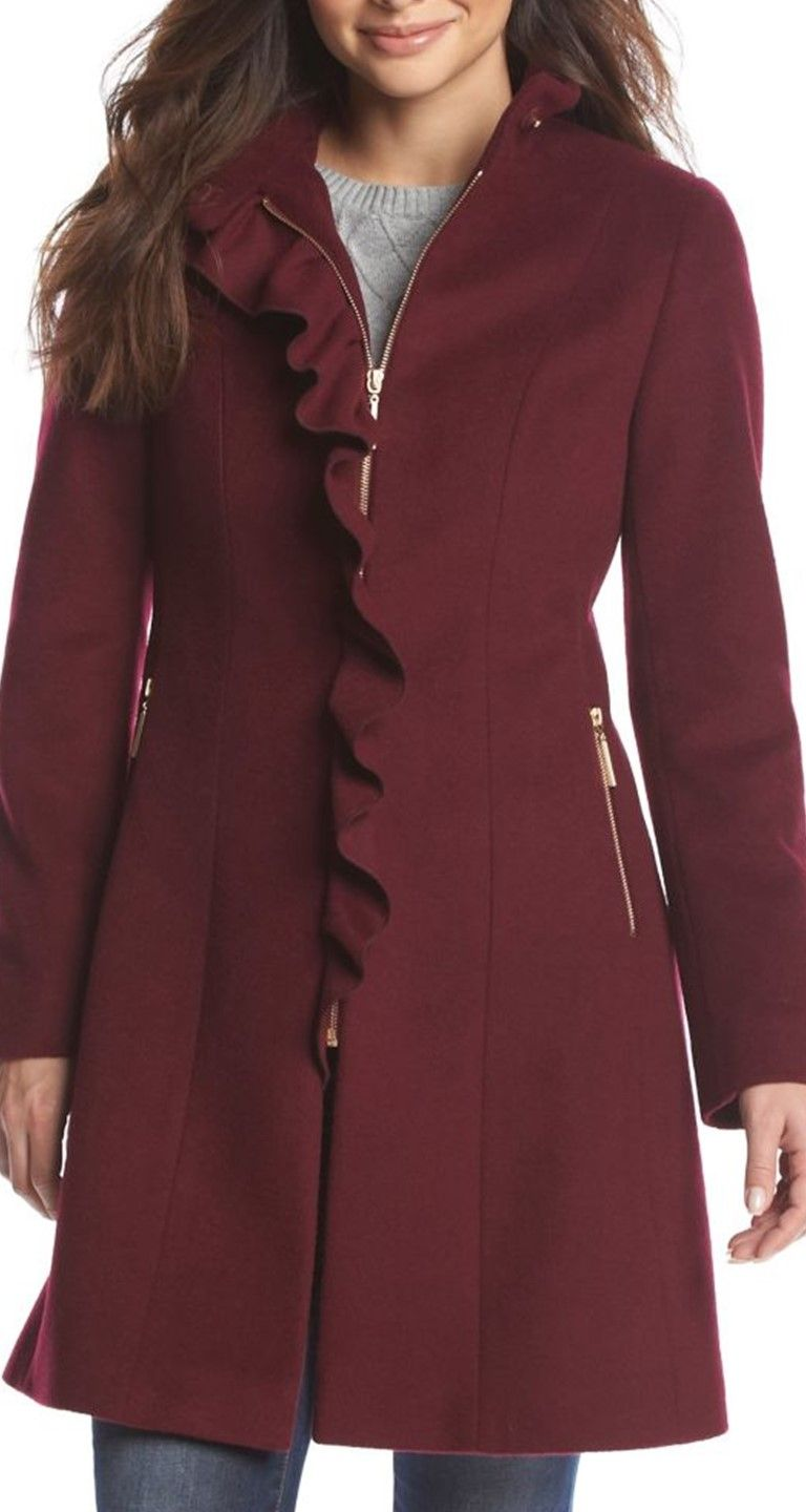 Dress for success starting with a T Tahari Ruffle Front Wool Coat
