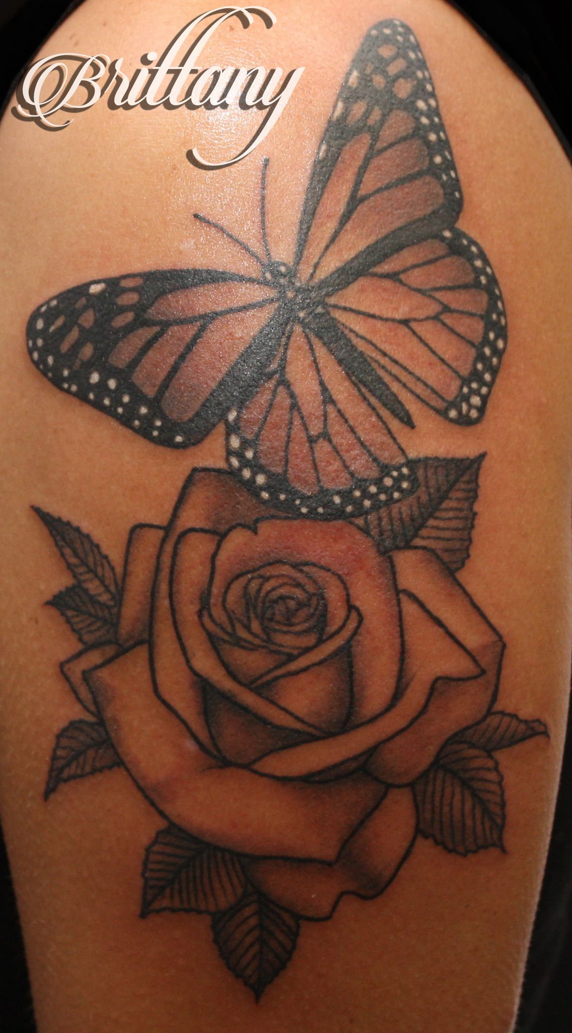 1b1316758 Butterfly rose tattoo monarch butterfly black and grey Skinny Boy Tattoo  Post Falls Idaho