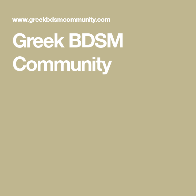 Bdsm greek community