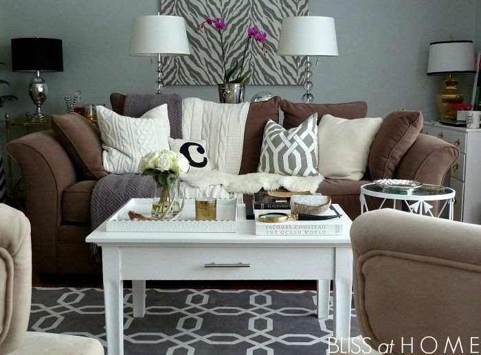 Best Living Room Refresh…Buh Bye Blues Brown Couch Living 400 x 300