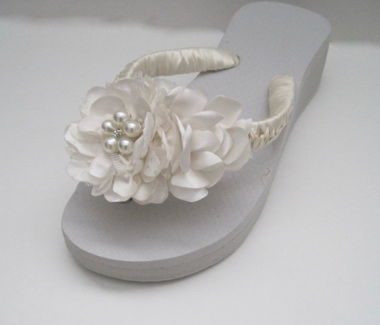 15ee03c6d7e306 Flip Flops Bridal Wedding French Knotted Ivory Satin and Lace Handmade  Flowers Choose Pearl and Rhinestone or all Rhinestone Accent Custom by  theraggedyrose ...
