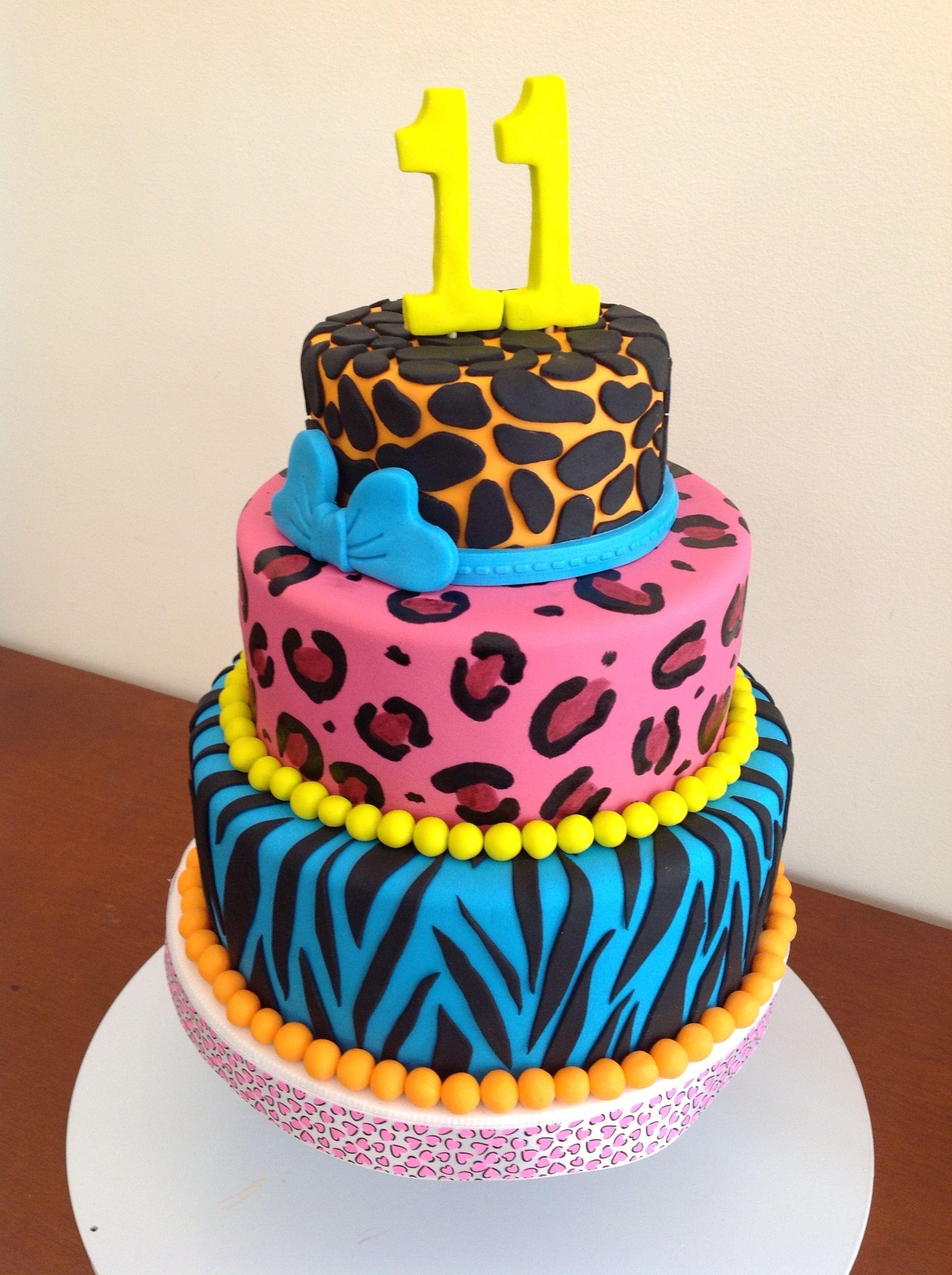 birthday cakes birthday girly cake animal prints cake pastel