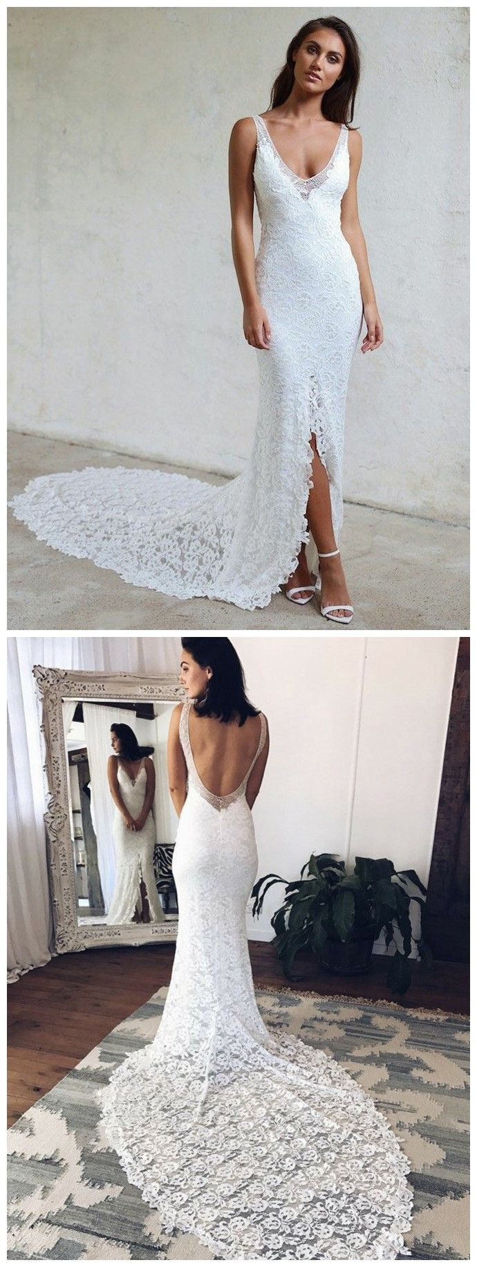 Sheath V Neck Court Train Backless Lace Wedding Dress With Split In