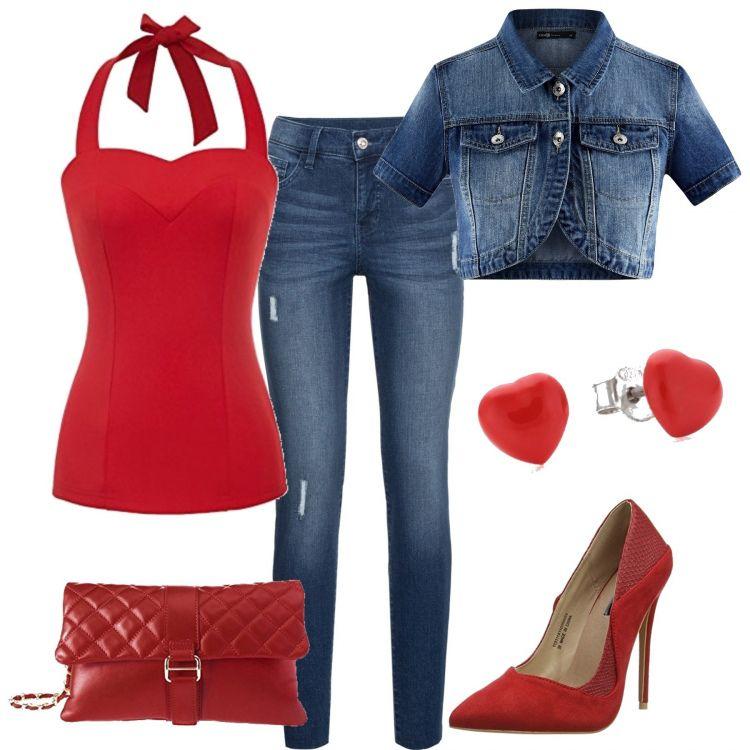 1a6340511470cd Outfit dal gusto anni  50 che mette in risalto la figura  il corpetto rosso