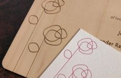 Elegant Designer Wedding Invitations in Letterpress Paper, Wood Veneer - by Oslo Press