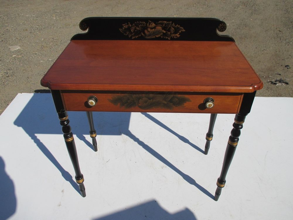 Hitchcock Signed Black Harvest Writing 1 Drw Desk/accent Table