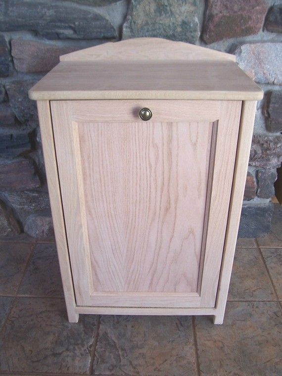 Charmant Unfinished Oak Wood Trash Bin Cabinet Tilt Out Door
