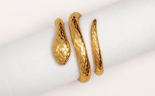 21ed6db2fd75 Pulsera serpiente en plata recubierta de oro - Pulseras