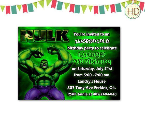 Hulk Invitation Hulk Birthday Invitation Hulk Party Invite Hulk