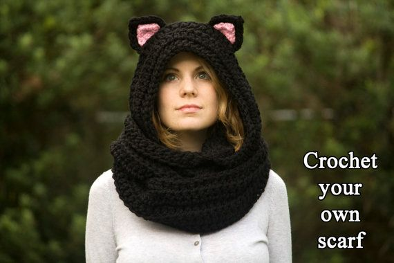 CROCHET PATTERN Cat Scarf, Hooded Scarf with Cat Ears, Cat Scoodie ...