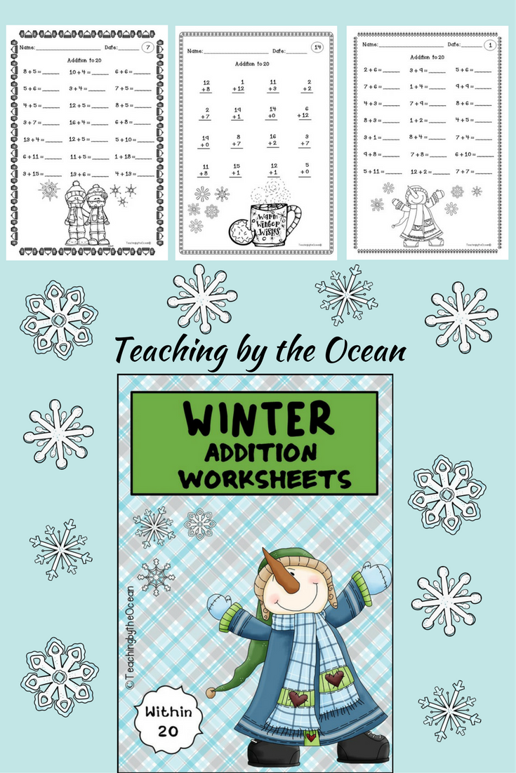 Winter Addition To 20 Fact Fluency Worksheets Homeschool