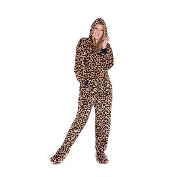Leoparden-Pyjama Sleepsuit Kapuze S/ü/ßes Leopard-Kost/üm Hausanzug Leo-Muster lustiges Tier-Outfit Cosplay Einteiler flauschig bequem Witziger Leoparden-Onesie Jumpsuit Fasching Karneval Party