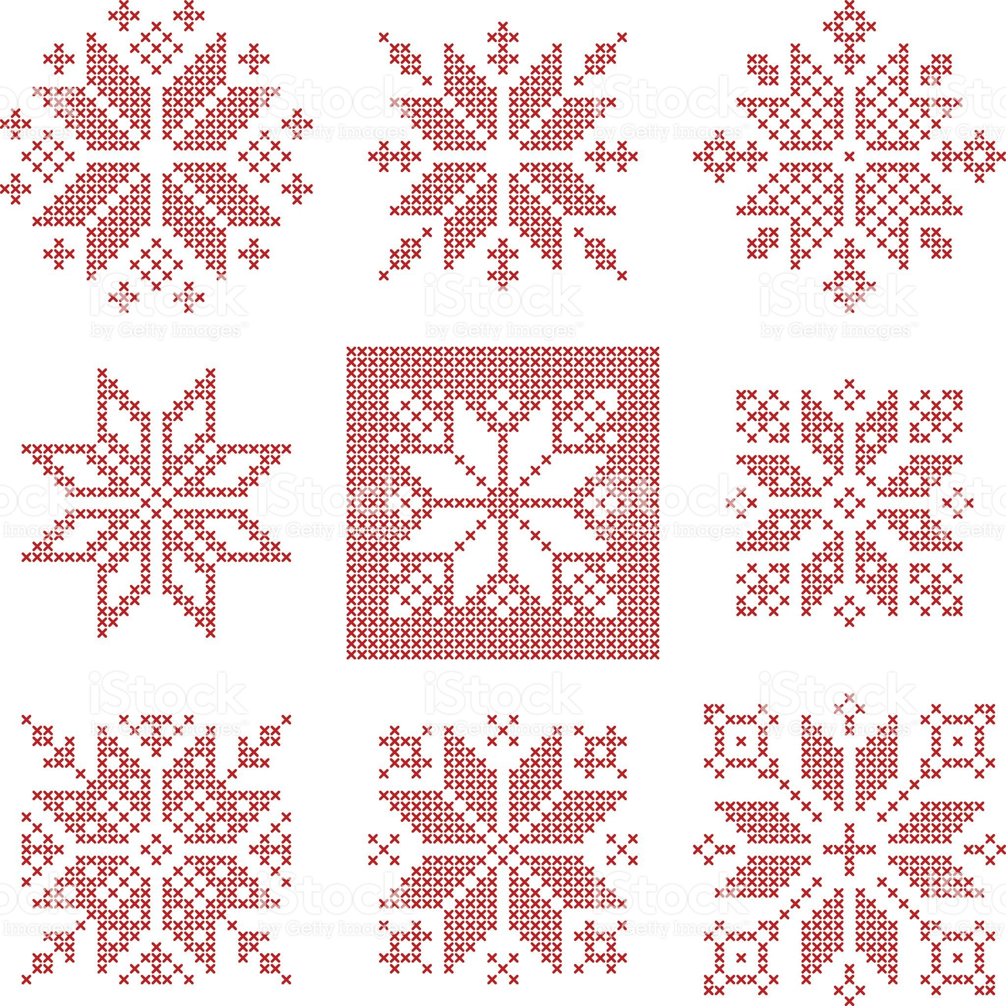 Set Of 9 Cross Stitch Snowflakes Pattern Scandinavian Style Cross Stitch Patterns Christmas Christmas Cross Stitch Patterns Free Snowflake Cross Stitch