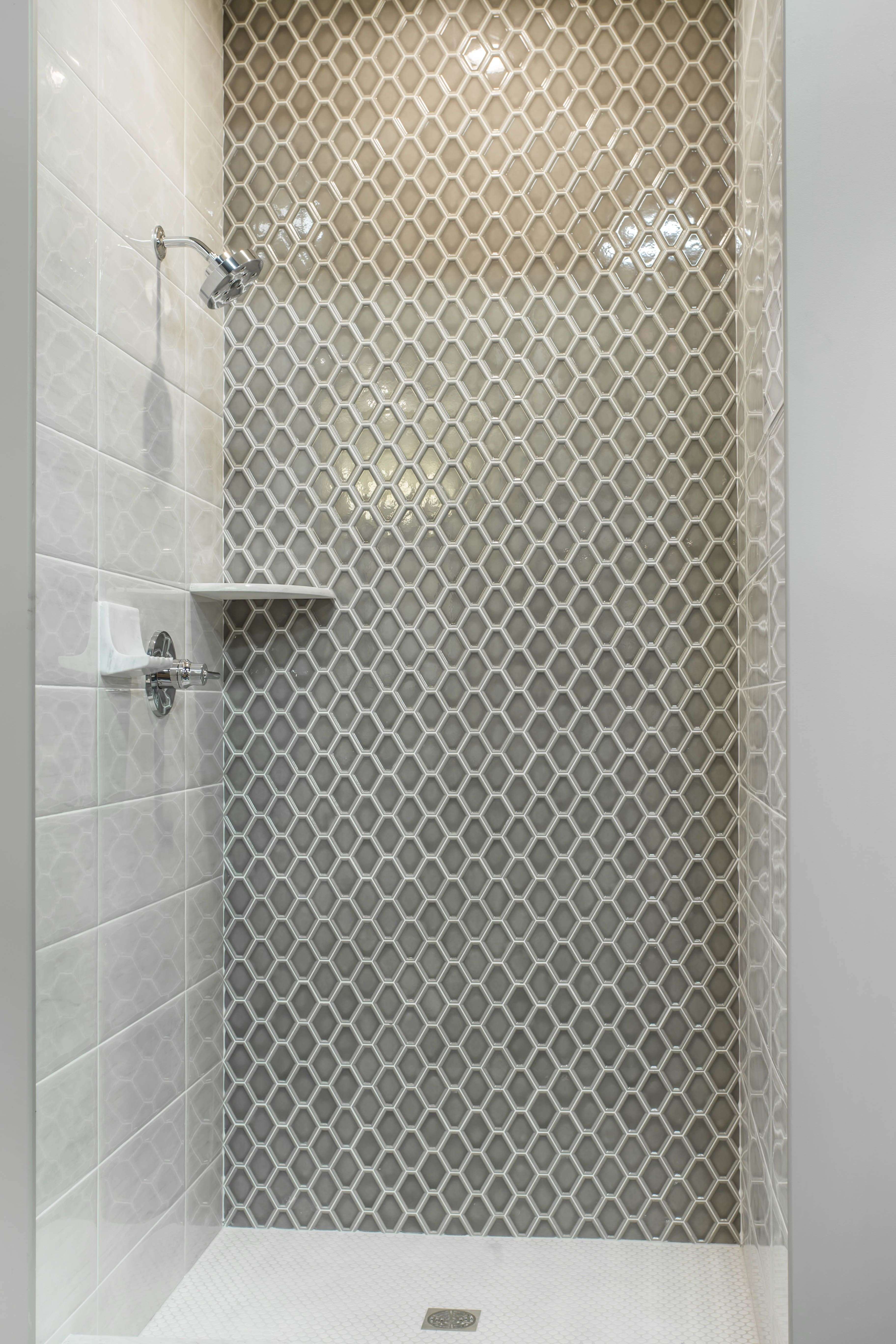 The Idea Make A Big Statement In A Small Space With Bold Geometric Patterns I Wouldn T Use These T Unique Bathroom Tiles Tile Bathroom Mosaic Bathroom Tile