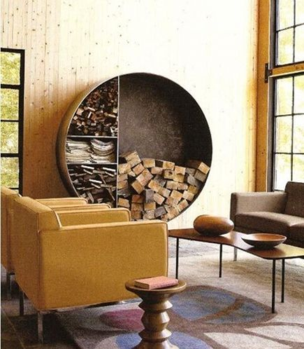 Indoor Firewood Storage Done Right Visual Clarity Combined With Graduated Textures Wall Mounted For