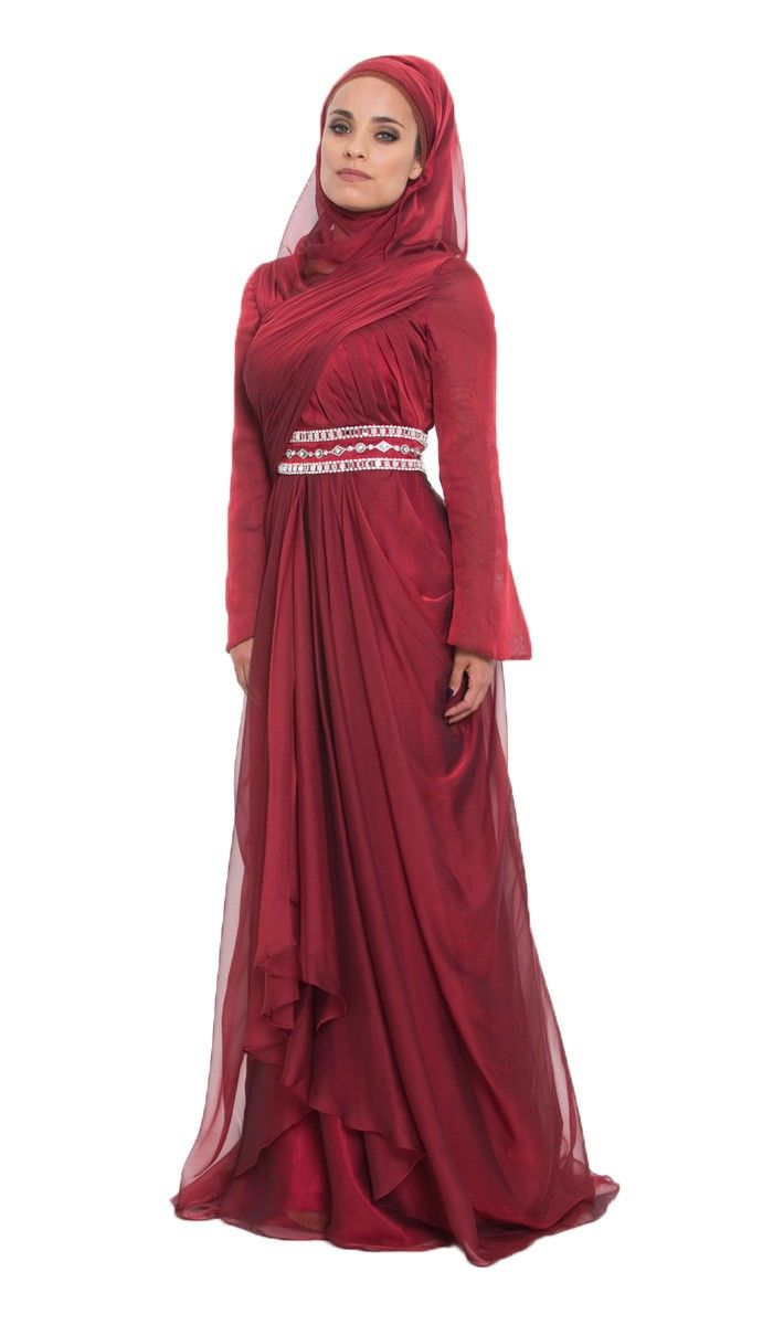 Burgundy Silk Chiffon Islamic Formal Long Dress With Hijab