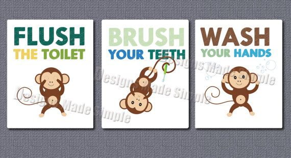 Cartoon Monkey Signs For Childrens Bathroom By DesignsMadeSimple 800