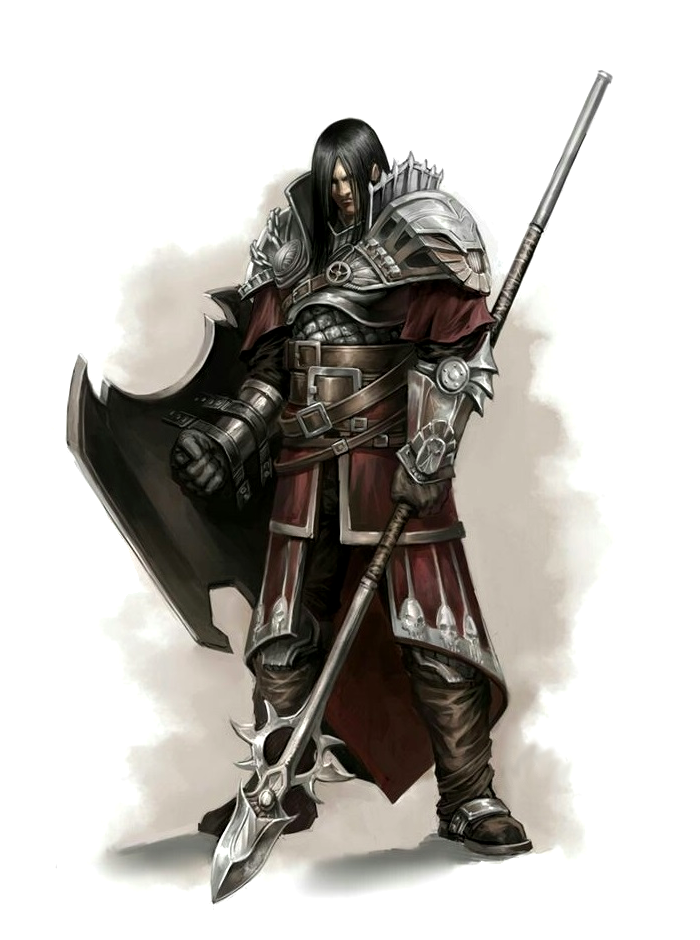 Male Human Shield Brace Polearm Fighter - Pathfinder PFRPG ...