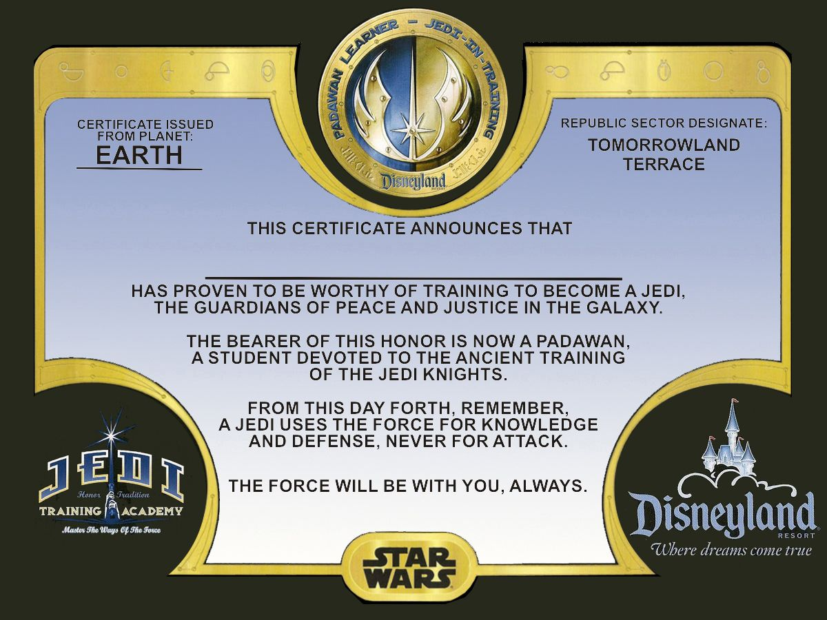 Certificate Given To Each Padawan That Participates In The