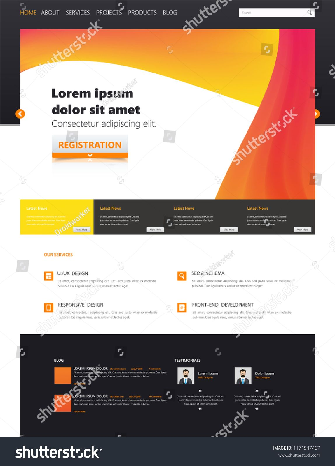 23df47414 Colorful modern web page design for website and mobile website development.  Easy to edit and customize.