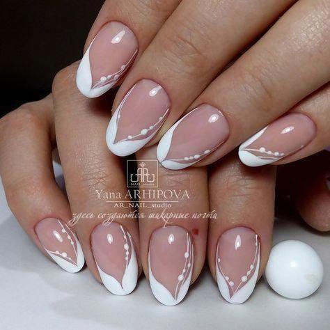 french nails nude quadratisch spitze weis dreieckig lang