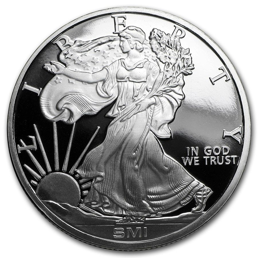 1 Oz Silver Round Walking Liberty Mint Mark Si Silver Round Apmex Silver Bullion Silver Rounds Silver