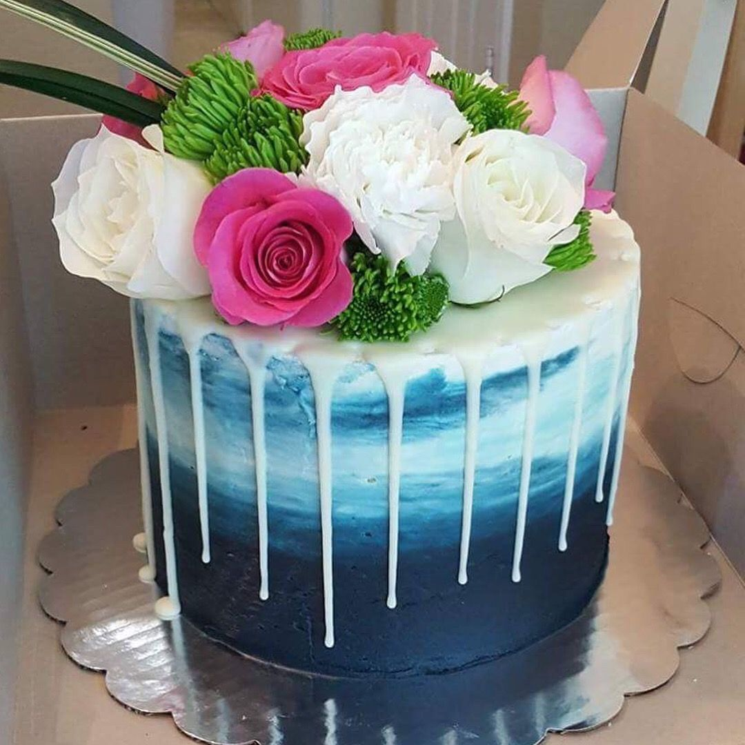 Navy Blue Watercolor Cake With Ganache Drip And Fresh Floral