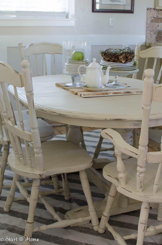 Marvelous Ideas For Painting A Kitchen Table Part - 5: Painted Table And Chairs - Annie Sloan Old Orche Chalk Paint