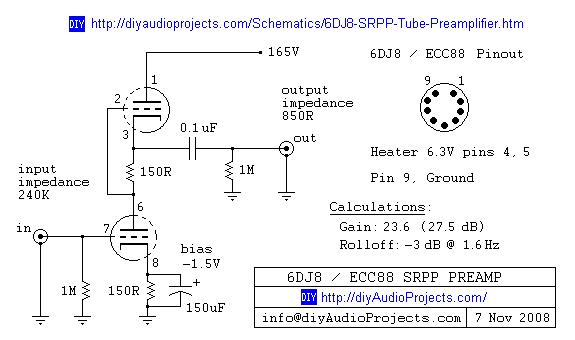 6DJ8 / ECC88 / Symmetrical SRPP Tube Preamplifier Schematic ... Vacuum Tube Preamp Schematic on