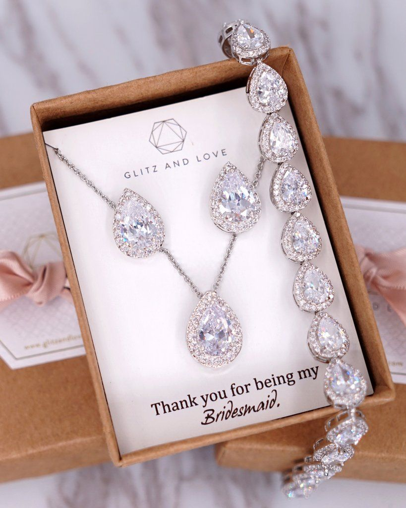 Bridesmaid Jewelry Set Bridal Teardrop Cubic Zirconia Earrings Teardrop Necklace Set Bridal Jewelry Necklace Bridal Set Bridesmaid Gift
