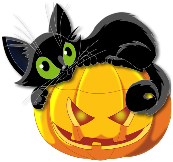 large transparent halloween pumpkin with black cat clipart