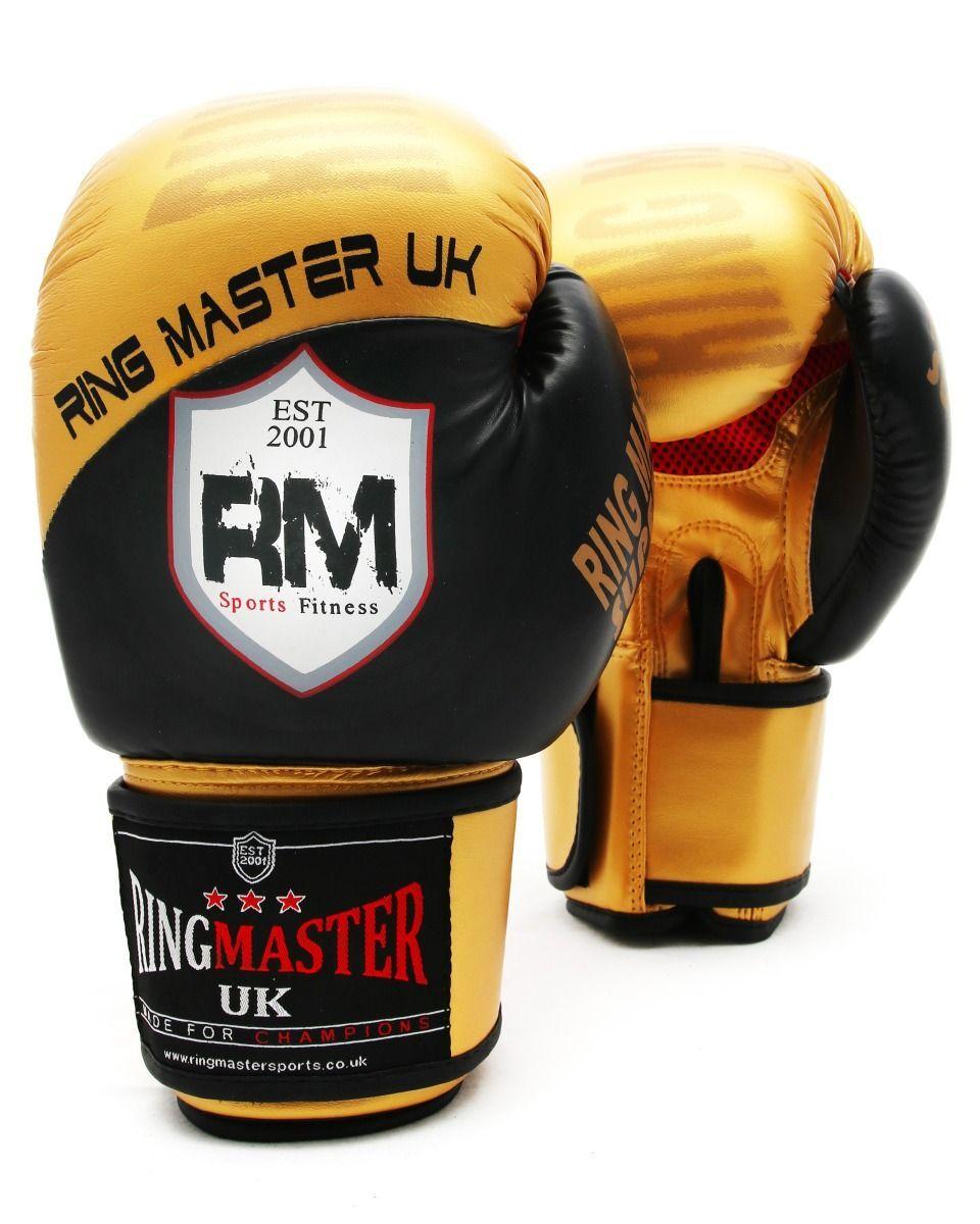 Ringmasteruk Boxing Gloves Synthetic Leather Gold And Black Mma Training Equipment Mma Training Training Equipment