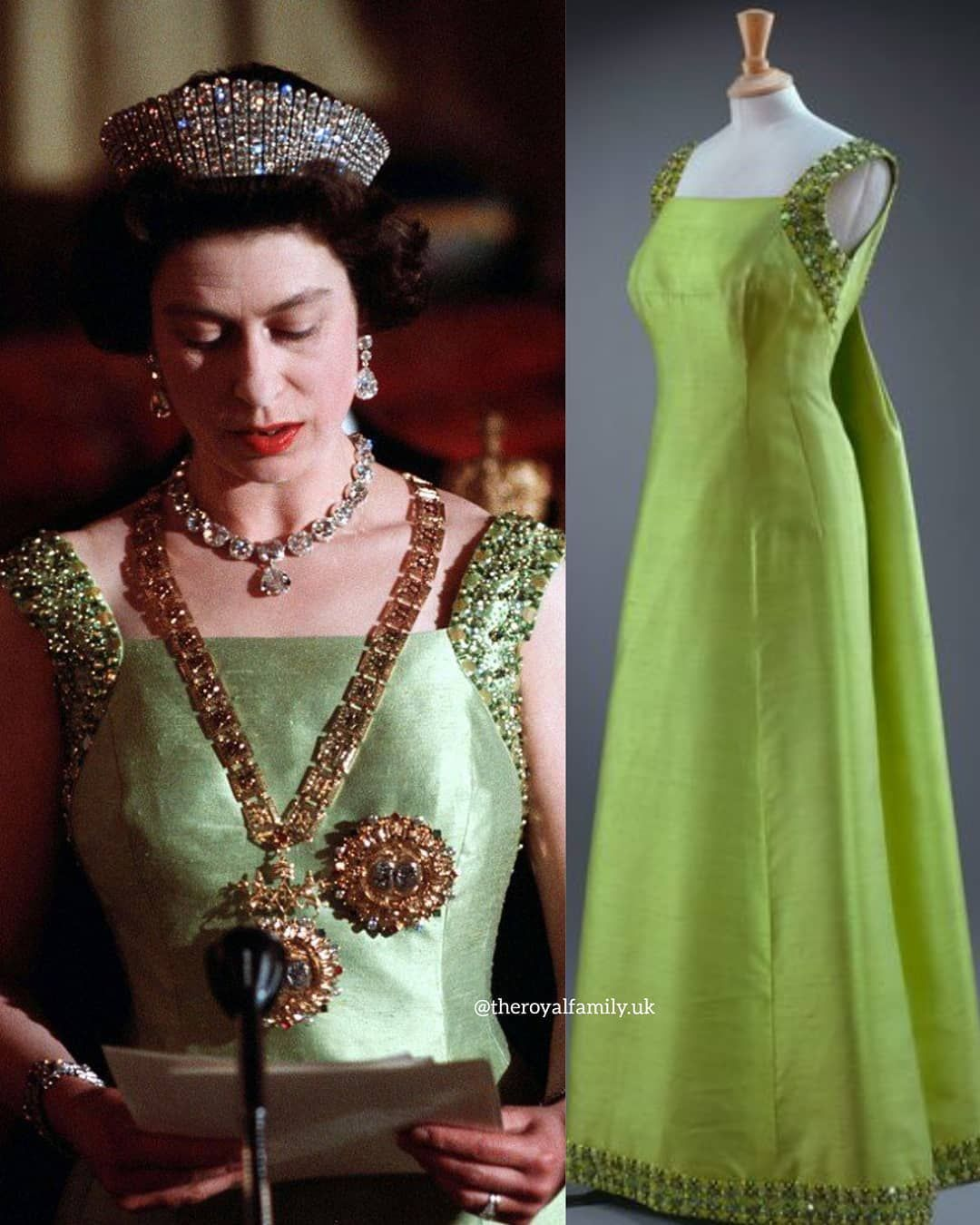 Theroyalfamily Uk On Instagram Queen Elizabeth S Wardrobe This Jewelled Embroidered Green Silk Dress Dress Was Designed By Norman Hartnell This Fabulous [ 1350 x 1080 Pixel ]