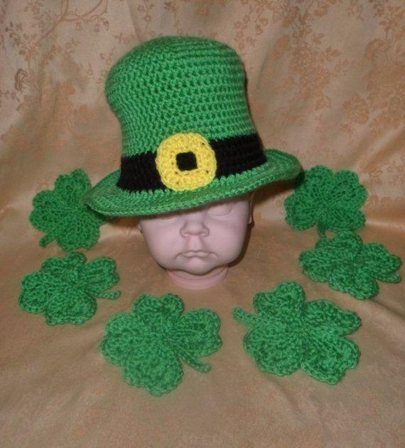 Crochet (Infant-Adult) Leprechaun Hat and Shamrocks ee13e2f374c